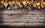 Christmas rustic background with wooden decoration - 237413678