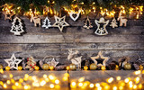 Christmas rustic background with wooden decoration - 237413827