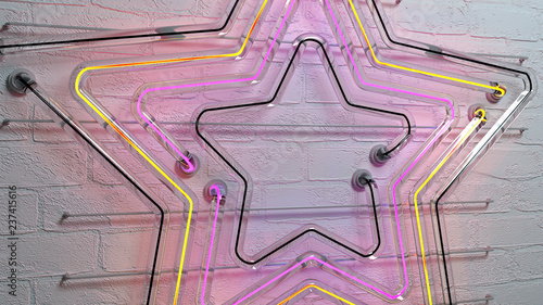 Neon light star on brick wall 3D rendering - 237415616