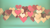 Heart shapes abstract romantic 3D rendering