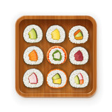 Set sushi rolls with various ingredient on wooden tray.
