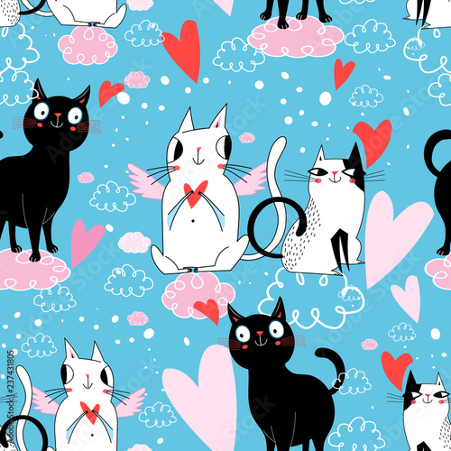 obraz lub plakat Seamless festive pattern with cats in love