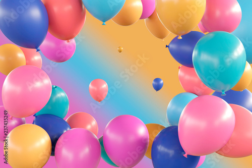 Birthday decorations.Holiday background. Colorfull Ballons frame. 3d render