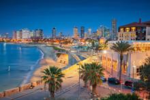 """Постер, картина, фотообои """"Tel Aviv Skyline. Cityscape image of Tel Aviv, Israel during sunset."""""""