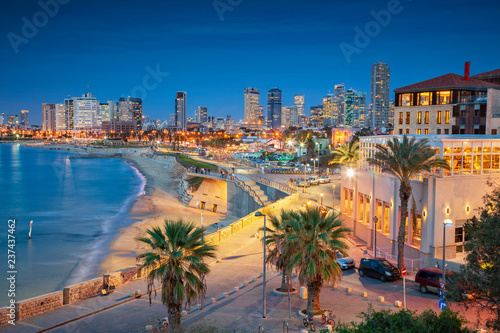 Tel Aviv Skyline. Cityscape image of Tel Aviv, Israel during sunset. © rudi1976