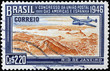 Quadro Wonderful vintage stamp with plane flying over Rio