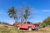 old vintage car with landscape