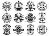 Nautical thematic big set of vector retro emblems