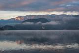 Beautiful foggy lake in the alps