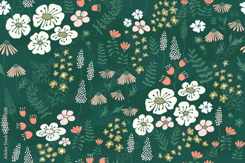 Vector floral seamless pattern with white and pink flowers, leaves and grass for design textiles, paper, wallpaper. - 237460608