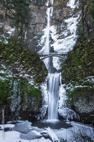 Frozen Multnomah Falls and cliffs - 237469645