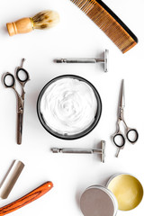 barbershop desk with tools for male care white background top view