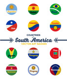countries of south america | digital badges | vector art | ai file + jpeg - 237475697