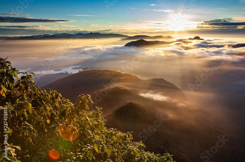 amazing sunrise seen from Sri Pada or Adam's Peak, Sri Lanka