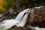 Side view of Split Rock Falls during Autumn in the Adirondacks New York