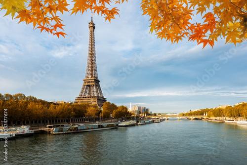 Seine in Paris with Eiffel tower in autumn season in Paris, France. - 237477674