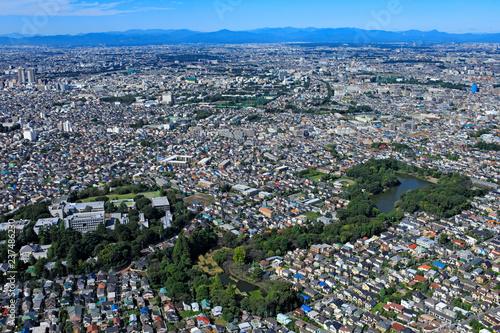 郊外の住宅地/善福寺公園周辺、空撮