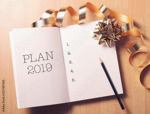 2019 New Year plan with gold decoration.