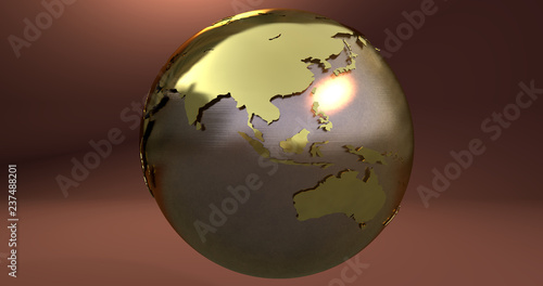 A background with the Earth planet made in gold, which shows Australia and Asia continents.