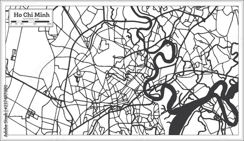 Ho Chi Minh Vietnam City Map in Retro Style  Outline Map  | Buy