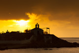 Agios Fokas Greece, sunrise at stormy weather