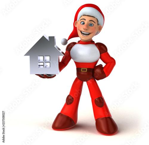 Fun Super Santa Claus - 3D Illustration - 237508027