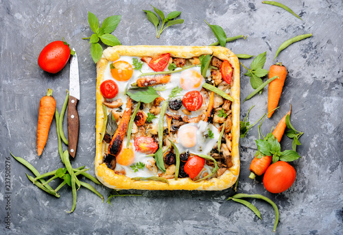 Leinwanddruck Bild Open vegetable pie