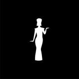 Egyptian silhouette icon or logo, Queen Nefertiti, Cleopatra silhouette on dark background