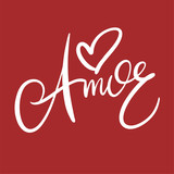 Amor phrase hand drawn vector lettering. Modern brush calligraphy isolated.