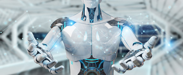 White man robot using digital network connection 3D rendering