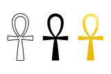 Set, collection of ancient egyptian ankh signs isolated on white background. Symbol of eternal life, egyptian cross sign. - 237520439