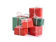 Gift boxes set on white background