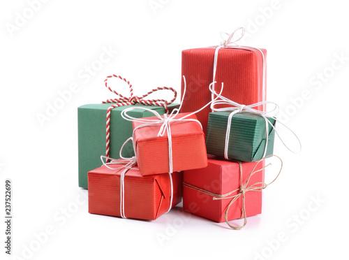 Zobacz obraz Gift boxes set on white background