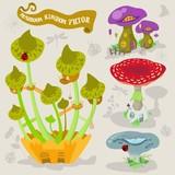 Mushroom fairy kingdom vector fantasy land illustration map builder