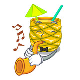 With trumpet Pineapple fruit juice on character drink - 237525830