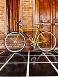 Old retro yellow bicycle. - 237528264