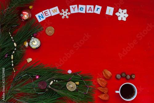 fototapeta na ścianę Christmas new year tree decoration holiday gifts background winter