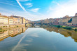 Quadro River Arno in city of Florence, Tuscany, Italy with bridges