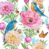 seamless pattern for textile design, flowers and birds Wallpaper, watercolor hand painting - Иллюстрация