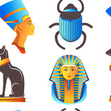 Egypt and Egyptian mythological signs seamless pattern isolated background vector. - 237543471