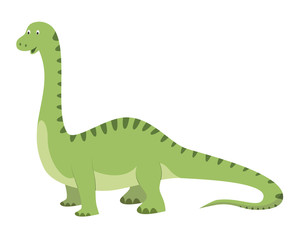 Diplodocus vector illustration in cartoon style for kids. Dinosaurs Collection. © asantosg