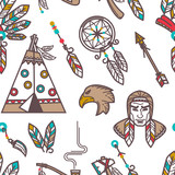 Native American Indians traditional culture symbols pattern background. - 237544814