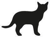 black silhouette of domestic cat vector illustration