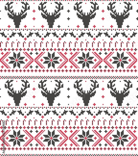 christmas embroidery deer candy seamless vector pattern - 237549682