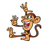 monkey with arms up sitting