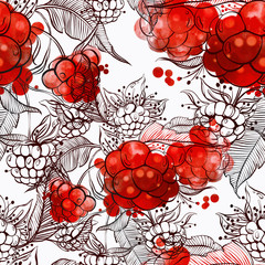 imprints raspberry berries mix repeat seamless pattern. digital hand drawn picture with watercolour texture. mixed