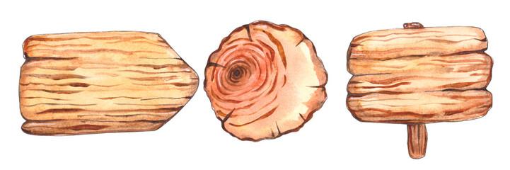 Watercolor wooden slice © Tasha_zen
