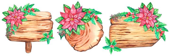 Set of watercolor wood slices © Татьяна Клецкина