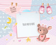 Baby girl shower card. Teddy bear. Arrival card with place for your photo.