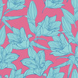 Vector blue Lilium flowers with pink background seamless repeat pattern. great for retro fabric, wallpaper, scrapbooking projects,print. Surface pattern design. - 237569843